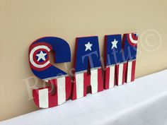 B's name Captain america inspired hand painted wooden by ItsRoosTutus