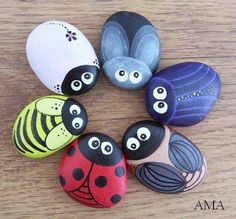 Maybe sharpies would work. Pebble Painting, Pebble Art, Stone Painting, Stone Crafts, Rock Crafts, Arts And Crafts, Painted Rock Animals, Hand Painted Rocks, Painted Stones