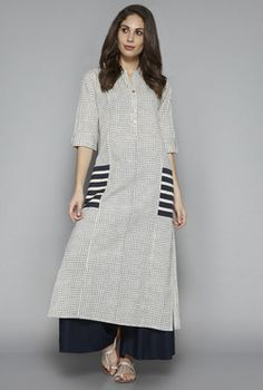 Utsa by Westside Indigo Checks Kurta Pakistani Dresses, Indian Dresses, Indian Outfits, Kurta Patterns, Dress Patterns, Indian Attire, Indian Wear, Kurta Designs, Blouse Designs