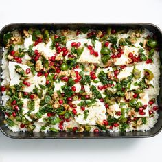 Baked Minty Rice with Feta and Pomegranate Relish Recipe