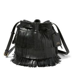 Mini Fringe Leather Bucket Bag