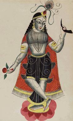 Balarama, brother of Krishna, Kalighat art