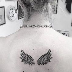 Black and White ink Wings on back by Cally-Jo #tattoosonbackformen