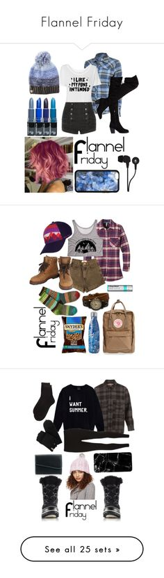 """""""Flannel Friday"""" by a-valen ❤ liked on Polyvore featuring Club Ride, Pierre Balmain, Betsey Johnson, Skullcandy, Mountain Khakis, American Apparel, Chanel, Outdoor Research, Fjällräven and S'well"""