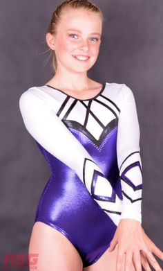 This beautiful long sleeve girls gymnastics leotard. Finished in pearl white, purple and black mystique. We supply quality gymnastics leotards and accessories.