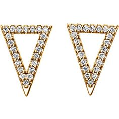 14kt Yellow 1/4 CTW Diamond Triangle Earrings #new #gold http://www.stuller.com/locateajeweler?searchTerm=locate%20a%20jeweler