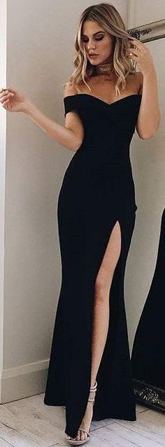 Off-the-Shoulder Long Black Prom Dress with Split Mermaid Party Dress elegantes schwarzes Kleid Partykleid Trendy Dresses, Elegant Dresses, Cute Dresses, Beautiful Dresses, Dresses Dresses, Long Dresses, Dresses Online, Long Gowns, Black Evening Dresses