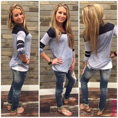 Game Day ‪#‎GDY4293‬ Sitting on the bleachers of a baseball, softball, or t-ball game? Look cute while cheering on your favorite team or player with this laid back baseball tee outfit! Top: $49 NikiBiki Tank Top: $16 Denim: $48 Sandals: $45 To add this cute laid back outfit to your closet, fill out this form athttp://form.jotform.us/form/42265697798173. For immediate assistance call us at 320-774-1533! We ship nationwide! Don't forget to follow us on Facebook at…