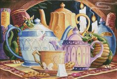 Tea Party RS [SPANGLER139532] - $19.00 : Heaven And Earth Designs, cross stitch…