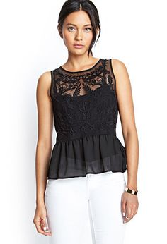 Embroidered Mesh Peplum Top | FOREVER21 - 2000068473