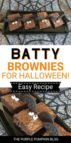 Halloween is just around the corner, and these Bat Brownies are a must for your party table! A yummy Halloween dessert that is super simple and quick to create using brownies, Oreos, and candy eyeballs! They are simply bat-tastic and kids will love them!