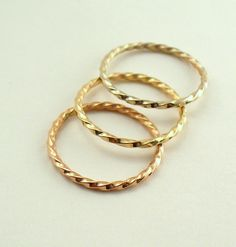 Solid 14k Gold Twisted Stacking Ring. $125.00, via Etsy.