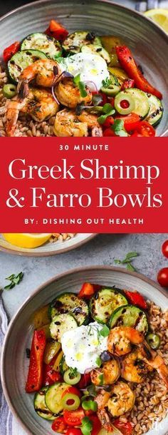 Get this tasty recipe for greek shrimp and farro bowls by Dishing Out Health, and more amazing mediterranean diet recipes you can make in 30 minutes. #mediterraneandiet #mediterranean #healthyrecipes #shrimpbowls #farro #lunchideas