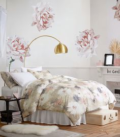 Your room, in bloom! Big floral patterns remind you to stop and smell the roses.