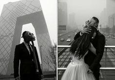 des photos de mariage avec un masque a gaz pour protester contre la pollution 5   Des photos de mariage avec un masque à gaz contre la pollu...