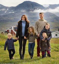 From left: Prince Vincent, 3, Princess Mary, 42, Princess Isabella, 7, Prince Frederik, 46, Princess Josephine, 3, and Prince Christian, 9
