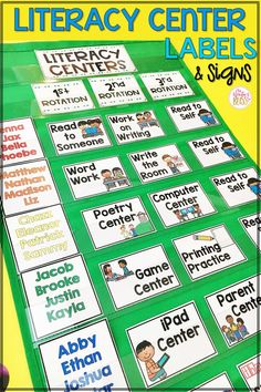This literacy centers rotation board is a great classroom management tool to organize kindergarten, first, and second grade work stations. Kids can use this reading centers chart to visualize which small group they are assigned to by their teacher during daily five stations. Over 40 literacy center cards and labels are included! #literacycenters #kindergarten #firstgrade #secondgrade #teachingreading #teachingwriting #guidedreading #classroommanagement #mrswintersbliss