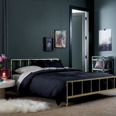 alchemy shiny brass bed | CB2