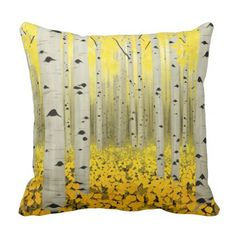 Aspen Grove in Fall Yellow Throw Pillow - home gifts ideas decor special unique custom individual customized individualized