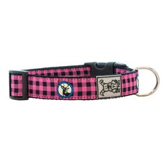 Buffalo Plaid Adjustable Clip Dog Collar by RC Pet - Pink