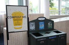 A recycling and compost station at the OCC. Photo: Nancy Erz