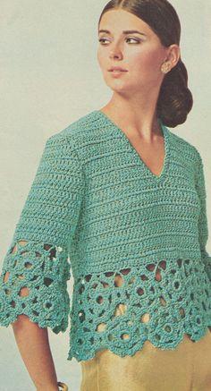 Vintage 1970s Crochet Medallion Blouse Pattern PDF 7420