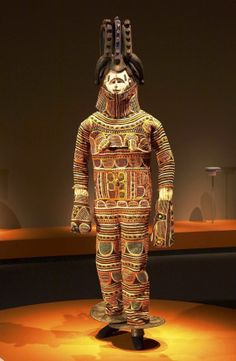 Africa | Mask costume from the Igbo people of Nigeria | Cotton, wool and dye | Mid 20th century