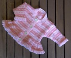 A perfect first fair isle pattern for those who'd like to try stranded knitting.Knit in Baby soft D.K. yarn on 4mm (UK8-USA6) knitting needles.Pink stripes using: K1, (Yarn A,) K1, (Yarn B,) to create a birds-eye stripe with no strands to get babies fingers caught in! With a pretty picot edge.The knitting pattern includes a chart and written instructions for 7 sizes.To fit chest sizes: Prem 1: 35.5cm/12in: Prem 2: 40.5cm/16in: 0-3m:45.5cm/18in: 3-6m: 50.5cm/20in: 6-12m...