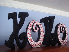 Valentines Decor XOXO Wooden Letters by thepatternbag on Etsy, $34.99