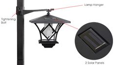 Solar Sensor LED Lamp Post