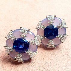 Jade Sapphire and diamond earrings