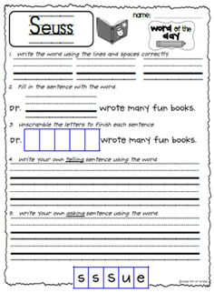 Dr. Seuss word of the day freebie for first grade