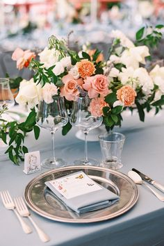 """From the editorial """"A Fairytale Destination Wedding in the North of Italy That Took Personalization to the Next Level."""" An enchanted place for an enchanting wedding weekend with dreamy flowers, soft colors, happy butterflies, laughter, and beauty. You don't want to miss these pretty details on SMP!  Photography: @ashleyludaescherphoto  #weddingreception #weddingtable #weddingdecor #weddingtablesetting"""