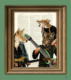 Coyote Art Print A Band of Coyotes illustration Animal Groups Collection upcycled dictionary page book art print