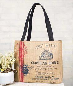 Burlap Clothing House Tote