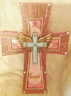 Cowgirl Angel Wing Cross by TheCrossedCupcake on Etsy Mosaic Crosses, Wooden Crosses, Crosses Decor, Wall Crosses, Decorative Crosses, Grieving Gifts, Cowgirl Room, Cross Wall Decor, Beaded Cross
