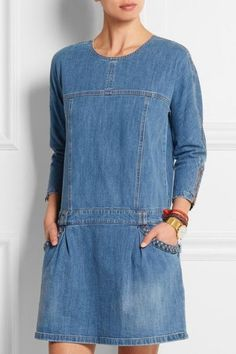 See By Chloé - Stretch-denim mini dress Denim Fashion, Look Fashion, Fashion Outfits, Womens Fashion, Jeans Refashion, Estilo Jeans, Denim Tunic, Mode Jeans, Denim Ideas