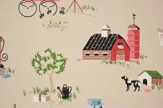 1940's Vintage Wallpaper Novelty Red Barn by RosiesWallpaper