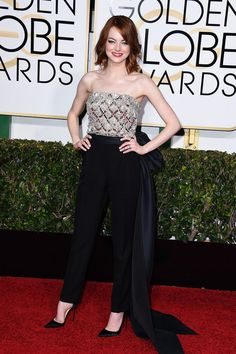 Best Pictures From the Golden Globes 2015 | POPSUGAR Celebrity Emma Stone in Lanvin