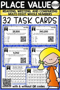 32 Place Value Task Cards which include reading, writing, and comparing larger multi-digit whole numbers to help your students review place value skills. Perfect for review, Scoot game, math center, assessment tool, or test prep! Math Skills Included:  •reading larger whole numbers •writing larger whole numbers •comparing larger whole numbers  This product is aligned to 4.NBT.1, 4.NBT.2, 5.NBT.1