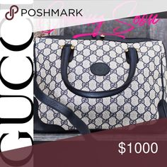 fa77f3380c7e90 GUCCI COMING TONIGHT!!GG Blue Navy Monogram Purse Watch for it on 1/