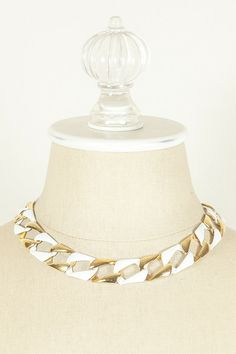 70's White & Gold Link Chain Necklace