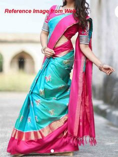 Blue color pochampally ikkath silk saree with pink and Zari Border – Devi Handlooms – Handwoven Cotton and Silk Sarees Soft Silk Sarees, Ikkat Silk Sarees, Beautiful Saree, Beautiful Outfits, Beautiful Women, Pattu Saree Blouse Designs, Wedding Silk Saree, Saree Trends, Stylish Sarees