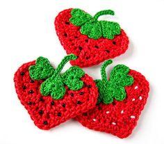 Crochet Heart Strawberry Appliqu