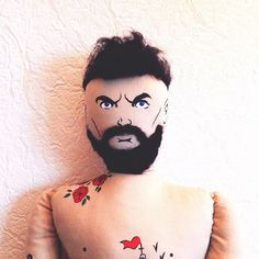 Tattooed Bearded textile doll Rag Doll Interior от RockandDolls, $100.00