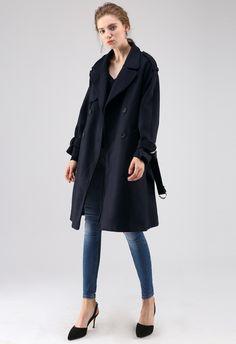 Snug Double-Breasted Wool-Blend Coat in Navy blue XS Blue Trench Coat, Double Breasted Coat, Shoulder Sleeve, Snug, Wool Blend, Navy Blue, Lady, Sleeves, Model