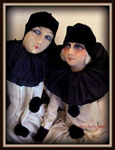 french pierrot and pierrette boudoir dolls