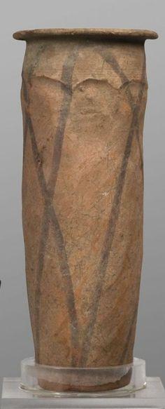 Vessel, net pattern, cylindrical, painted, Naqada III, ca. 3200-2900 B.C. Egyptian