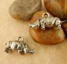 2 Antique pewter 3D Rhino, Rhinoceros charm