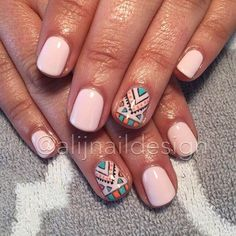 Opting for bright colours or intricate nail art isn't a must anymore. This year, nude nail designs are becoming a trend. Here are some nude nail designs. Aztec Nail Designs, Short Nail Designs, Nail Polish Designs, Nail Art Designs, Accent Nail Designs, Fancy Nails, Pretty Nails, Nude Nails, Gel Nails